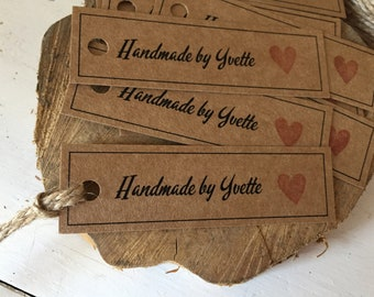 Handmade and personalised handmade by kraft tags set of 10 with twine and stamped heart