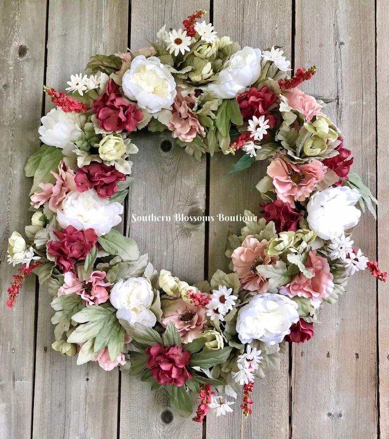 pink Floral wreath Gift for Her Farmhouse Decor Wedding Wreath Summer Floral Wreath Everyday Wreath for front door Modern Farmhouse