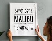 Malibu California USA, PRINTABLE Wall Art, City Name Map Coordinates, Black Typography Modern Decor, Instant Digital DOWNLOAD Print Jpegs