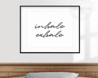 Inhale Exhale PRINTABLE Wall Art Zen Yoga Pilates Poster Breathe Landscape Horizontal Modern Typography Scandi Style Digital Print Jpg