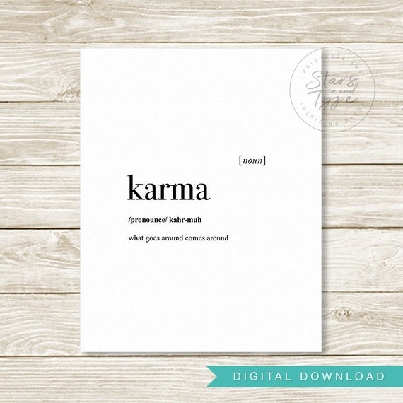 Karma Dictionary Definition Meaning Printable Wall Art Karma Etsy