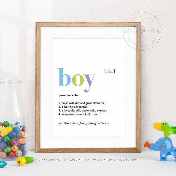 Boy Definition Dictionary Meaning Art Boys Bedroom Playroom Etsy