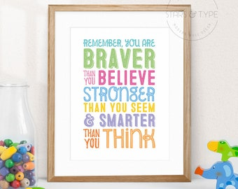 You Are Braver Than You Believe, Winnie the Pooh Quotes, AA Milne, PRINTABLE Wall Art, Home Nursery Decor, Color Typography, Digital Print