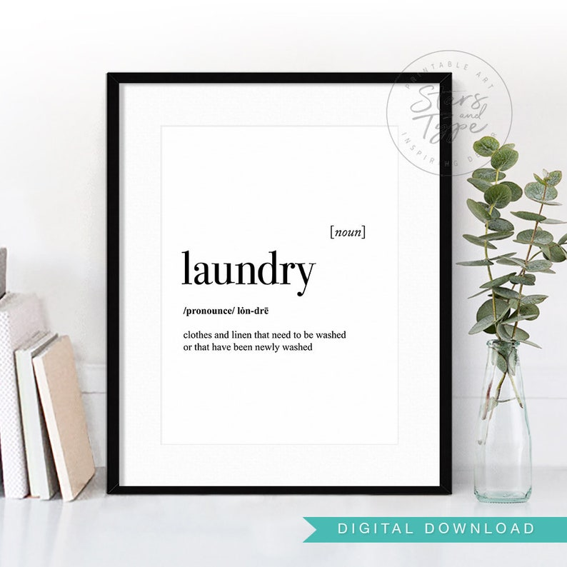 Laundry Dictionary Definition Meaning Printable Wall Art Etsy