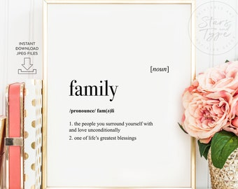 Family Definition, PRINTABLE Art, Dictonary Meaning, Family Quotes, Modern Home Decor, Digital DOWNLOAD Print Jpg