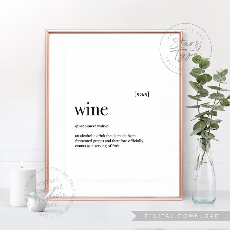 Wine Dictionary Definition Meaning Printable Wall Art Etsy