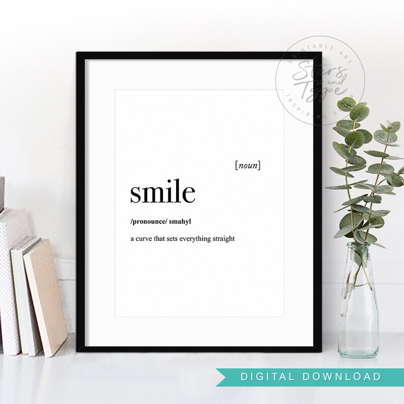 Happy Definition Of Happy At Dictionary Com >> Smile Dictionary Definition Meaning Printable Wall Art Happy Smile Quote Sign Decor Black Typography Instant Digital Download Print Jpeg