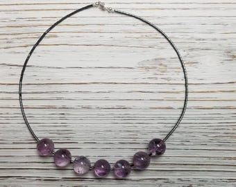 Lavender AAA Grade Brazilian gemstone with hematite and 925 Sterling silver necklace. Violet necklace.  Gift for her.