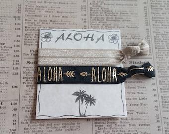 Gorgeous ALOHA Hair Ties, hawaiian wedding, bridal shower, bachelorette favors, bridesmaid, baby shower, hair tie favors, beach hair