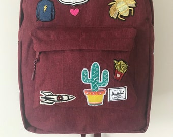 a6c9f397c19 Patched Wine Crosshatch Herschel Supply Co. Classic Backpack