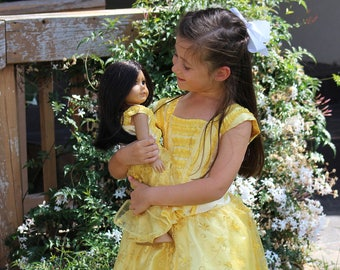 Belle Costume / Beauty and the Beast Costume / Belle Dress / Dolly and Me Matching Belle Gown Christmas Gift Set