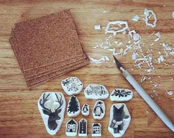 Gift ideas, Custom stamp, Decorate stamp, Handmade stamp, Hand carved rubber stamp