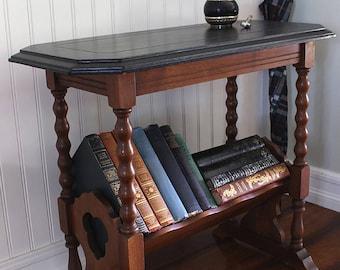 Vintage Accent Table W Slanted Bookshelf
