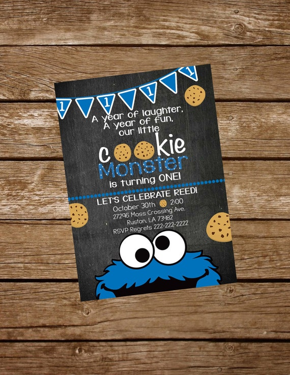 Cookie Monster Birthday Invite Cookie Monster Invitation Etsy