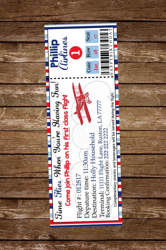 Bilet Lotniczy Urodziny Zaproszenie Vintage Airplane Etsy