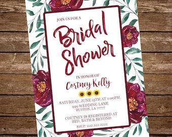 Bridal Shower maroon invitation,  maroon flower bridal shower, bridal shower invitation, watercolor flower bridal shower invitation