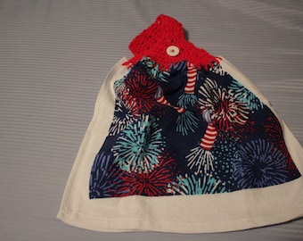COTTON KITCHEN TERRY DISH TOWEL  Summer Owl on Fireworks  Red White Blue