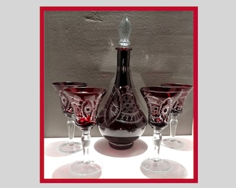 Dark Red Cut To Clear Bohemian Glass Wine Goblet Art Glass