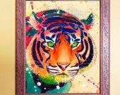Watercolour on Wood Rainbow Tiger Print