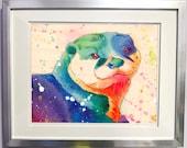Watercolour on Wood Rainbow Sea Otter Print