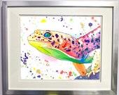 Watercolour Rainbow Leopard Gecko Lizard Print