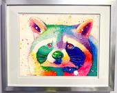 Watercolour on Wood Rainbow Raccoon Print