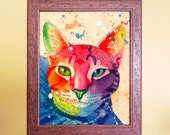 Watercolour on Wood Rainbow Tabby Cat Print