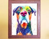 Watercolour Rainbow Mutt Dog Print