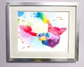 Watercolour Rainbow Rough Coated Border Collie Dog Print
