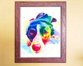 Watercolour Rainbow Smooth Coated Border Collie Dog Print