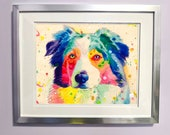 Watercolour on Wood Rainbow Australian Shepherd Print