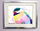 Rainbow Watercolour Chickadee Print