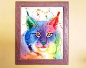 Watercolour Rainbow Canadian Lynx Print