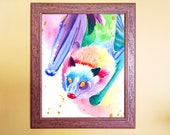 Rainbow Watercolour Flying Fox Bat Print