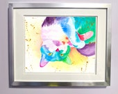 Watercolour Rainbow Grey and White Cat Print