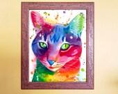 Watercolour Rainbow Tabby Cat Print