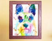 Watercolour Rainbow Schnauzer Art Print