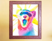 Watercolour Rainbow Ferret Print