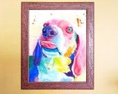 Watercolour Rainbow Beagle Dog Print