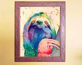 Watercolour on Wood Sloth Print