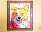 Watercolour Rainbow Corgi Print