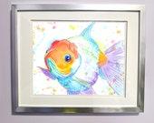 Watercolour Rainbow Oranda Goldfish Print