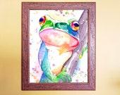 Watercolour Rainbow Tree Frog Art Print