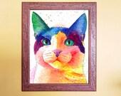 Watercolour Rainbow Tux Cat Print