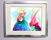 Rainbow Watercolour Rooster Print