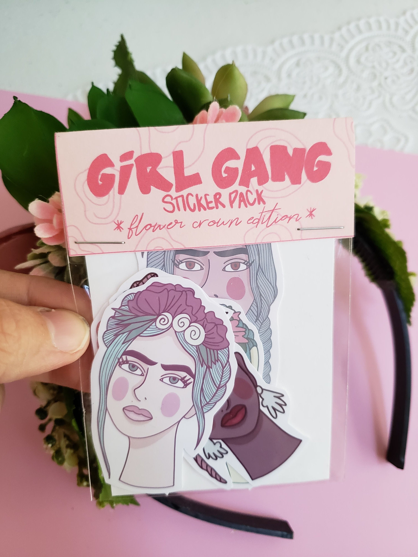 Flower crown sticker pack girl gang girl power etsy zoom izmirmasajfo
