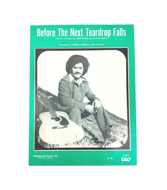 Before The Next Teardrop Falls Vintage Sheet Music 1970 Etsy