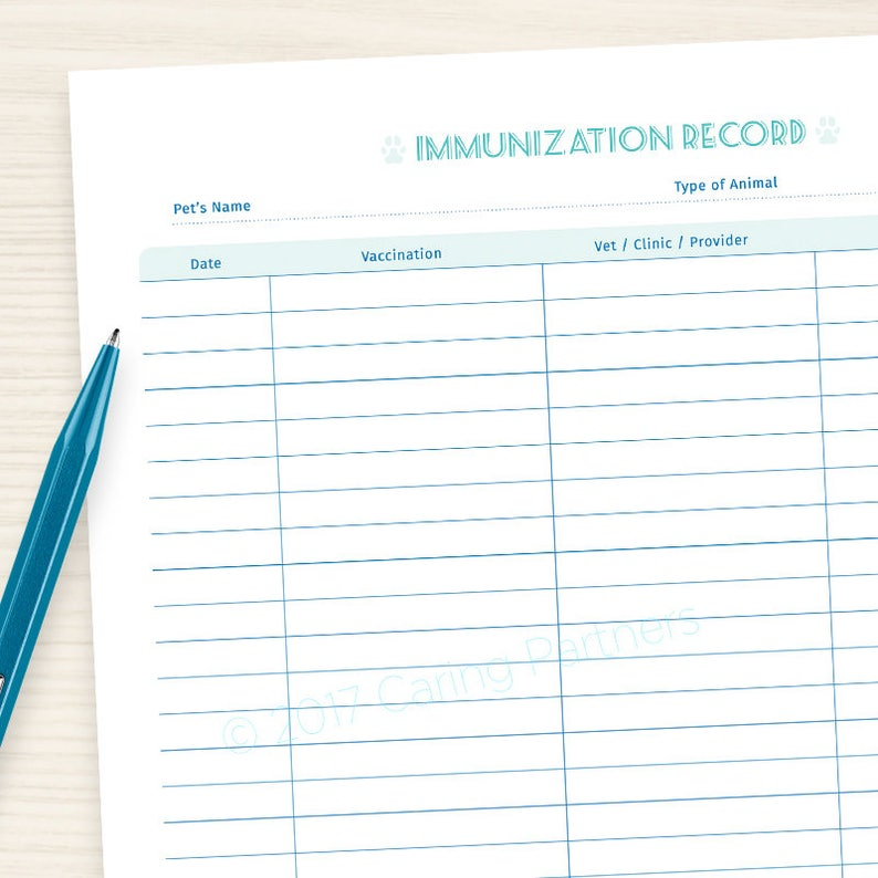 Pet Immunization Veterinary Record Printable Pdf For Etsy