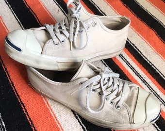 adb6976640c0 Vintage 80 s Jack Purcell Converse Canvas Shoes Made In USA Size 9