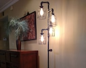 Pipe Floor Lamp 4-fixture Metal Lamp Guard Bulb Cage DOES NOT Include Bulbs